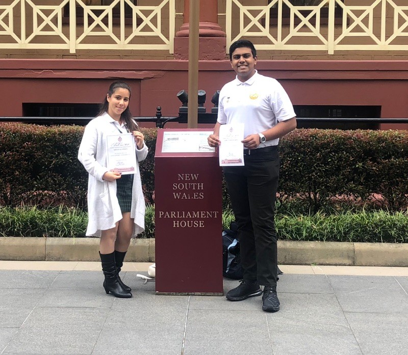 Krystal and Ashutosh outside NSW Parliament House
